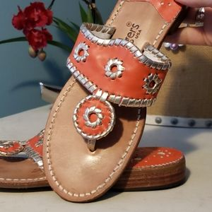 JACK ROGERS Nantucket Gold and Coral Sandal